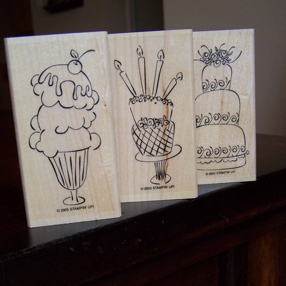 Up Rubber Stamps Wedding Cake Ice Cream Sundae And Birthday Cake