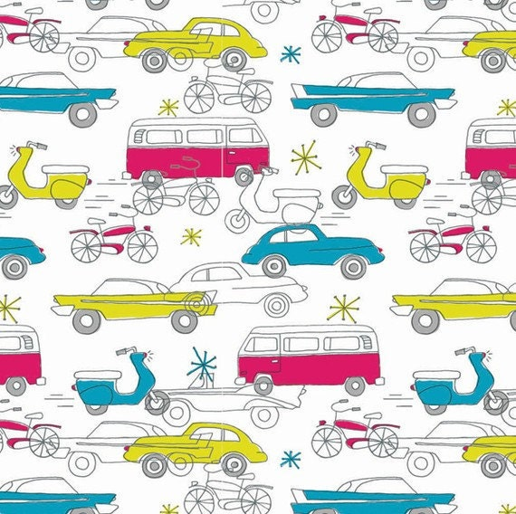 Birch Fabric - Circa 50 Cars in Strawberry - 1 yard - ORGANIC