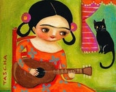 Frida Kahlo plays guitar to kitty cat PRINT from painting by tascha