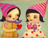 LOVE hearts print of painting valentine girls wall art by tascha