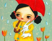RAINY day with BUNNY cute PRINT of painting by tascha