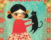 FRIDA KHALO with black cat mixed media PRINT from painting by tascha