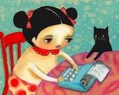 blue typewriter art writer girl with black cat PRINT of original painting by tascha 5x7