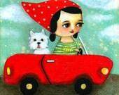 ORIGINAL Westie Dog Car Ride painting folk art original by tascha