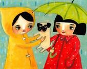 RAINY day PUG darling cute wall art PRINT of an original painting by tascha