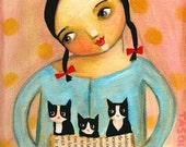 TUXEDO CAT kittens PRINT of  painting by tascha 7x5
