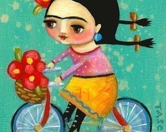 FRIDA KAHLO on her red bicycle Bike art PRINT of tascha painting 7x5