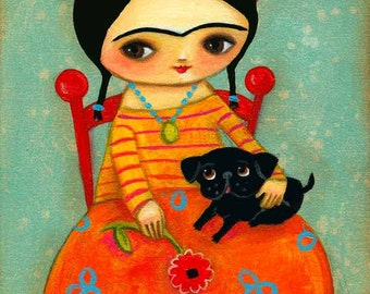 Frida Kahlo with Black Pug DOG sweet PRINT of original painting by tascha