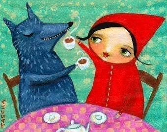 TEA Time With WOLF little red riding hood print from original painting by TASCHA