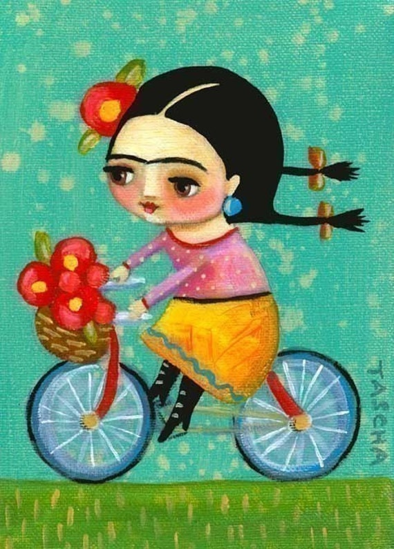 FRIDA KAHLO on her red bicycle PRINT of tascha painting 7x5