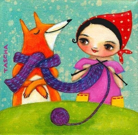 knitting with fox print of original painting by tascha 6x6