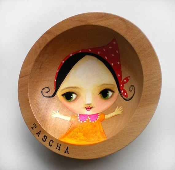 MINI hand painted wooden bowl BABUSHKA girl by tascha