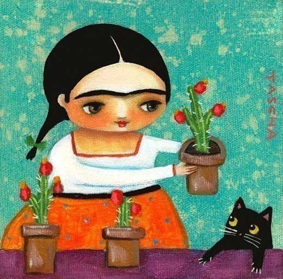 FRIDA KAHLO with cactus plants and black cat PRINT from painting by tascha