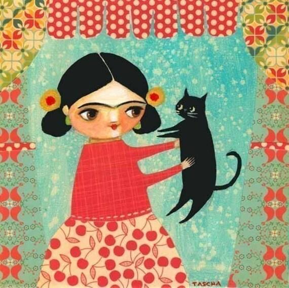 FRIDA KHALO black cat PRINT of original painting collage mixed media by tascha