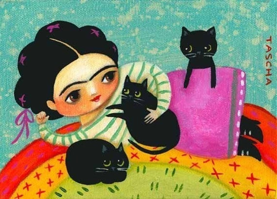 FRIDA KAHLO lounges with black cat print of painting by tascha