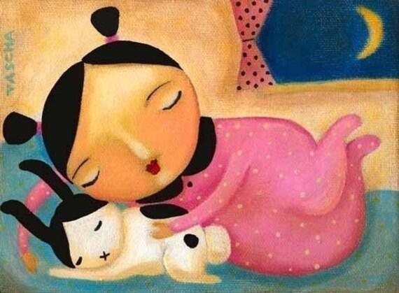 BUNNY poster print SLEEPY time bedroom art painting by tascha nursery room