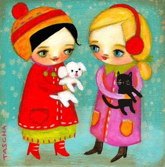 Maltese Dog and Black Cat winter day friends PRINT of painting by tascha 6x6