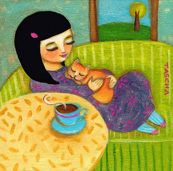 ORIGINAL CANVAS painting ZEN tea time with kitty by tascha
