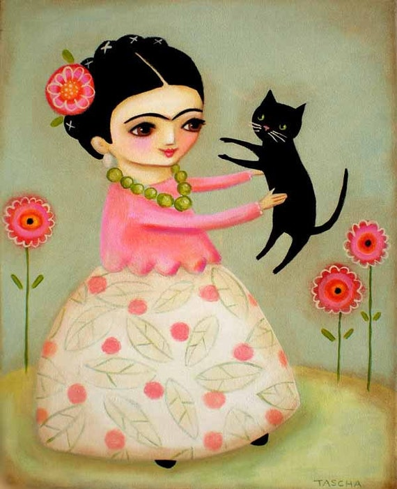 LARGE original acrylic painting FRIDA kahlo black cat and poppies by tascha 20x16