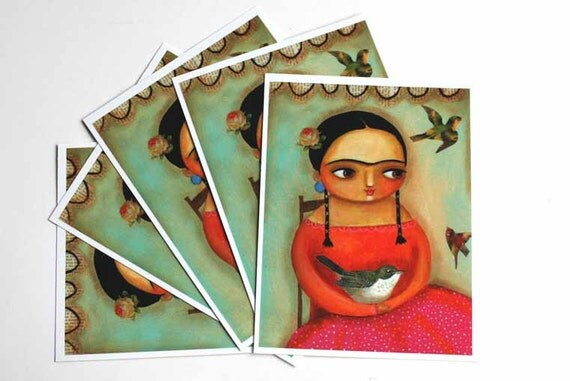 Frida Kahlo with bird POSTCARD set of 5 made from folk art painting by tascha