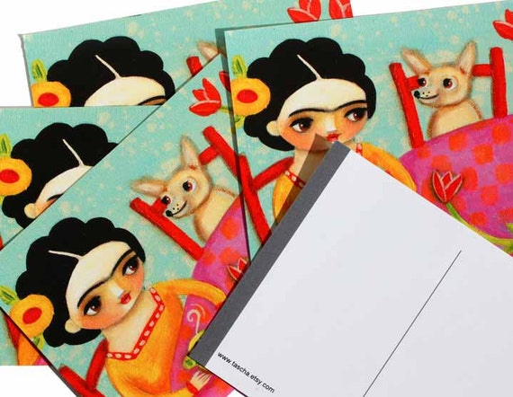 Frida Kahlo tan chihuahua tea time POSTCARD print of painting set of 5 by tascha