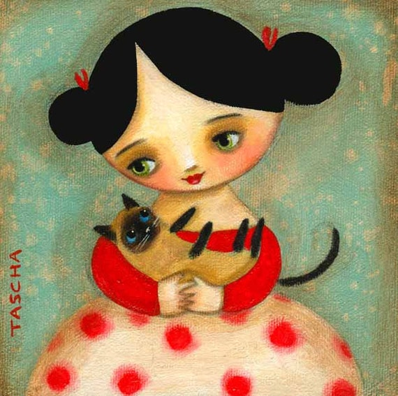 SIAMESE  cat with girl PRINT of an original painting by tascha 6x6