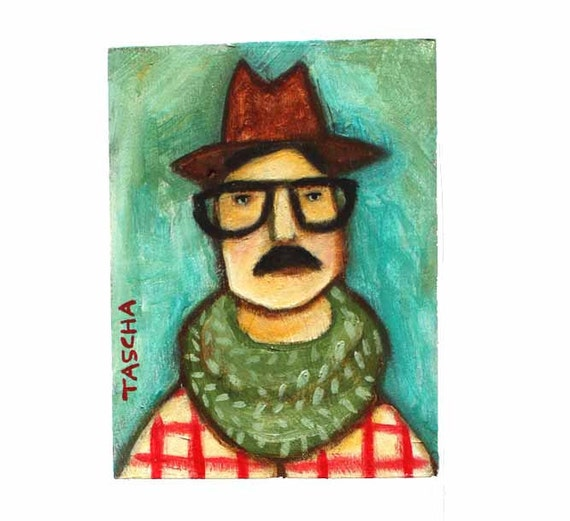 ORIGINAL mini painting the Toronto Urbanites KARL hipster painting on wood by tascha