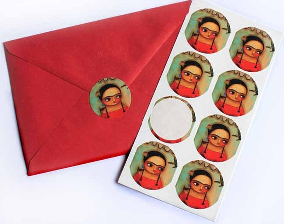 FRIDA KHALO stickers shiny ROUND sticker made from my original painting pack of 8 by tascha