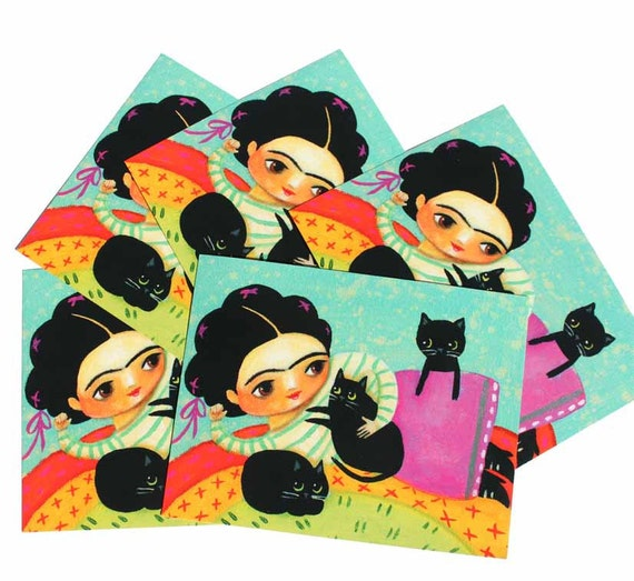 Frida Kahlo with Black Cats POSTCARD set of 5 pack from painting by tascha
