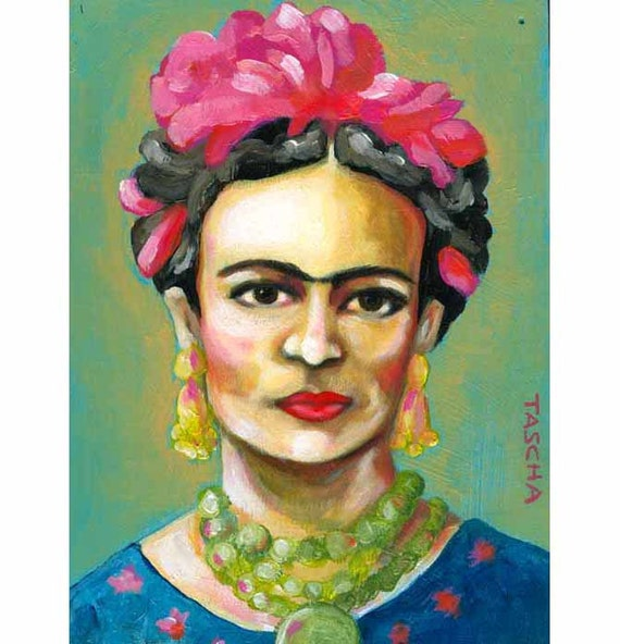 ORIGINAL acrylic on wood painting FRIDA Kahlo portrait art by tascha