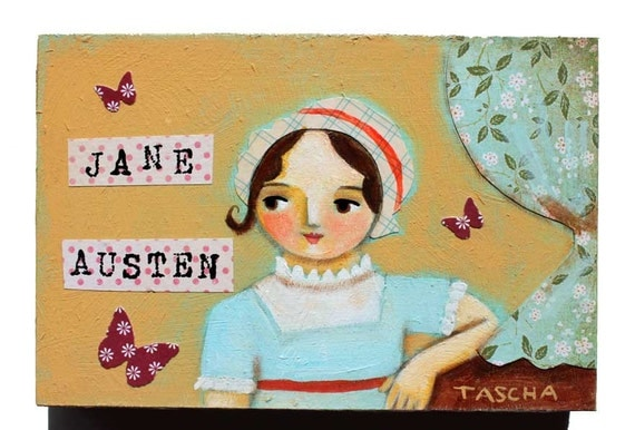 ORIGINAL Jane Austen mini acrylic painting on wood AUTHOR series folk art by tascha