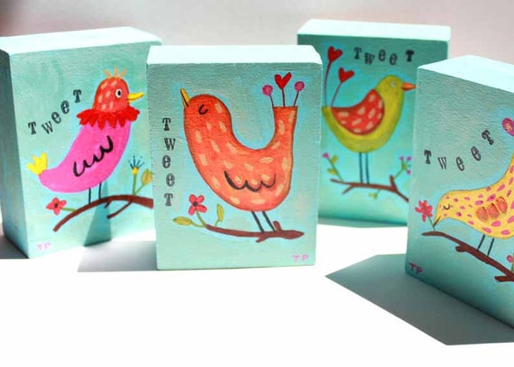 ORIGINAL mini paintings SERIES of happy BIRDS set of 4 bird art painting originals by tascha