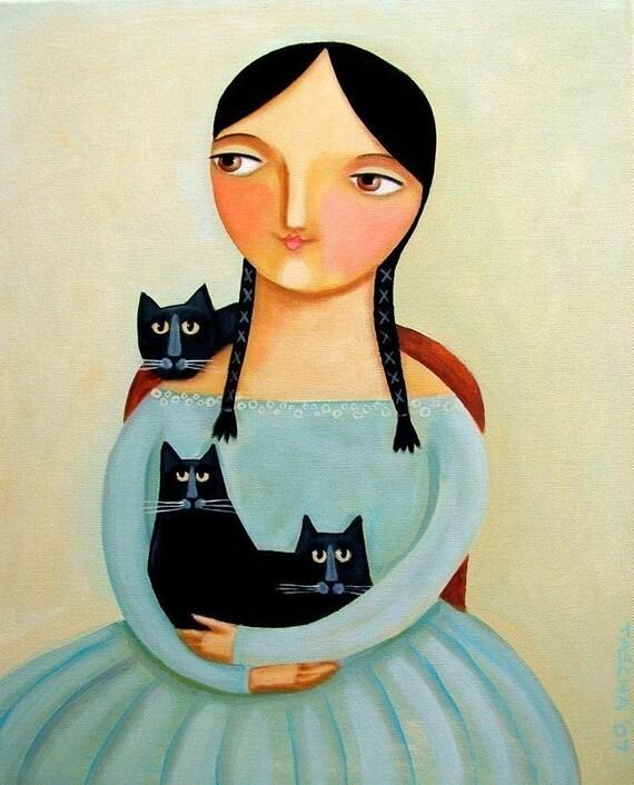 3 Black Cats Portrait painting PRINT 10x8