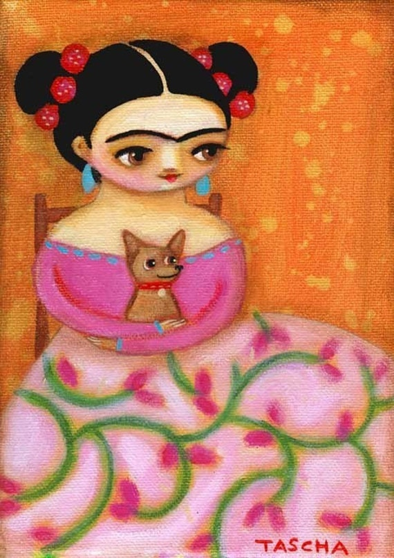 FRIDA KAHLO with chihuahua portrait PRINT of original painting by tascha 7x5
