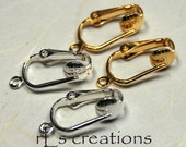Pierced Look Clip-On Earring Components - Silver Plated & Gold Plated -5 Pair Each Finish