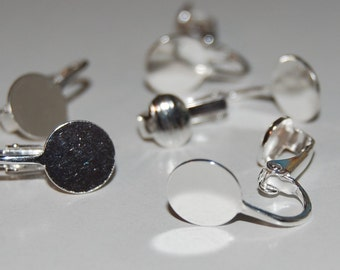 10 Pair - Clip On Earring Findings with 10mm Pad - Silver Plated