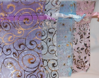 Pastel Organza Bags with Designs/Large 4x5/Set 12