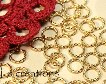 Jumprings 8MM 16GA Fancy Twisted Gold Plated