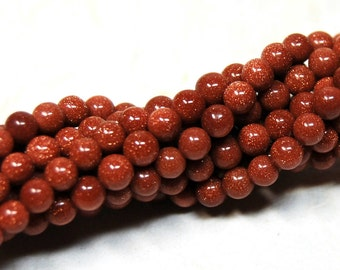Brown Goldstone 4mm Round Beads 16IN Strand