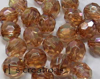 Acrylic Round Faceted Beads 16MM Brown AB Finish
