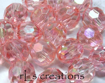 Acrylic Round Faceted Beads 16MM Transparent Pink AB Finish