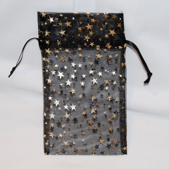Organza Bags Black with Gold Stars/4X5/Set 12