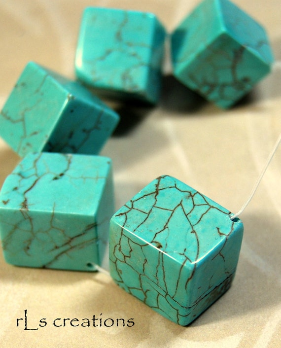 Turquoise Colored Magnesite Cube Beads - Combined Shipping
