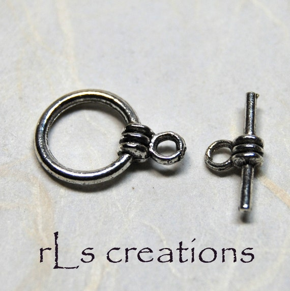 Clasp - Toggle Style - Antiqued Silver-Plated Pewter 10MM  10 sets