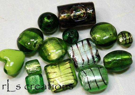 Dichroic Glass Bead Mix - Greens