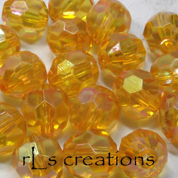 Acrylic Round Faceted Beads 16MM Transparent Gold AB Finish - Combined Shipping
