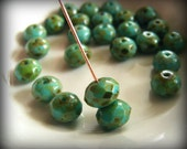 Czech Glass Rondelle  Fire Polish 9x6mm Faceted Gemstone Donut Turquoise Full Coat Picasso (10pk) SI-9x6FPR-TPFC