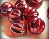Czech Glass Melon Beads 8mm Round Siam Ruby Vega (12pk) SI-8ML-SRV