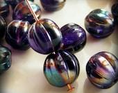 Czech Glass Melon Beads 8mm Round Tanzanite Celsian (12pk) SI-8ML-TC