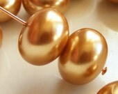 Glass Pearl Beads 12x8mm Rondelle Gold (Qty 12) Z-12x8PR-GOLD